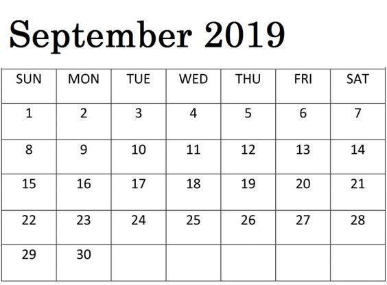 Blank September 2019 Calendar Word