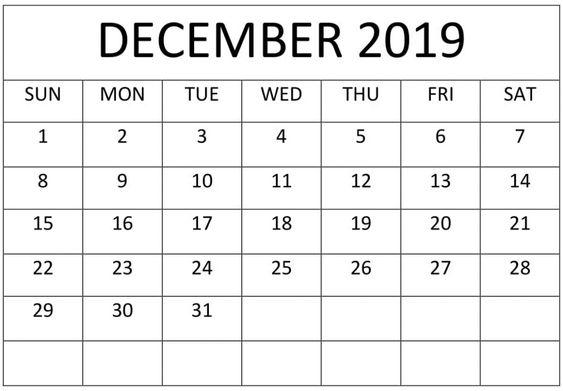 Calendar For December 2019 Cute