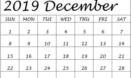 Calendar For December 2019 Free Downloadable