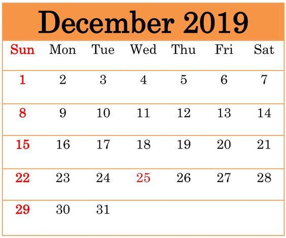 Calendar For December 2019 Stylish Design
