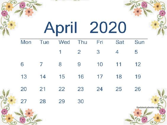 Cute April 2020 Calendar Decorative