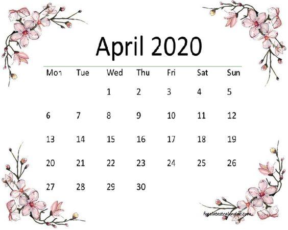 Cute April 2020 Calendar Facebook