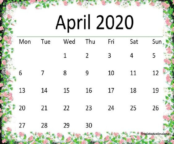 Cute April 2020 Calendar Wall, Desk Design