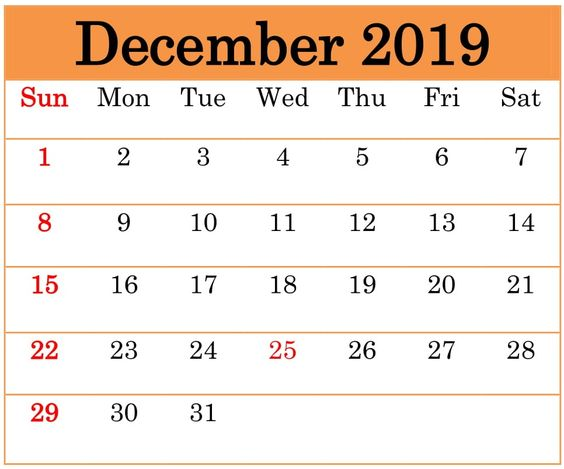 Cute December 2019 Calendar Orange
