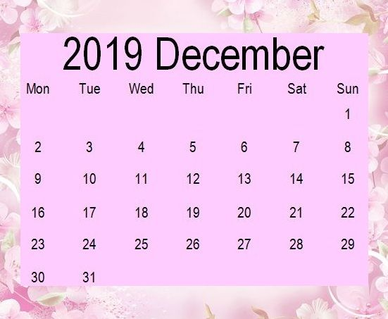 Cute December 2019 Calendar Pink Color