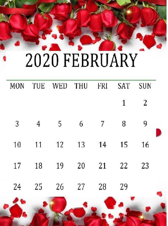 Cute February 2020 Calendar Decorative