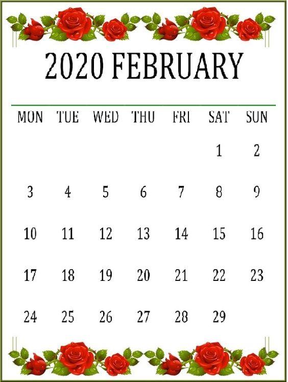 Cute February 2020 Calendar Desk