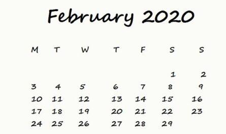 Cute February 2020 Calendar Free Download