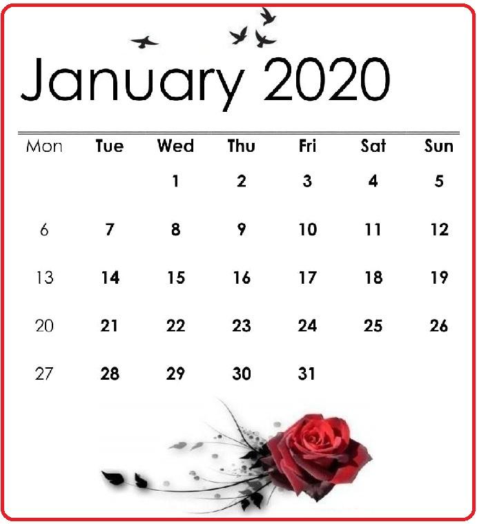Cute January 2020 Online Calendar