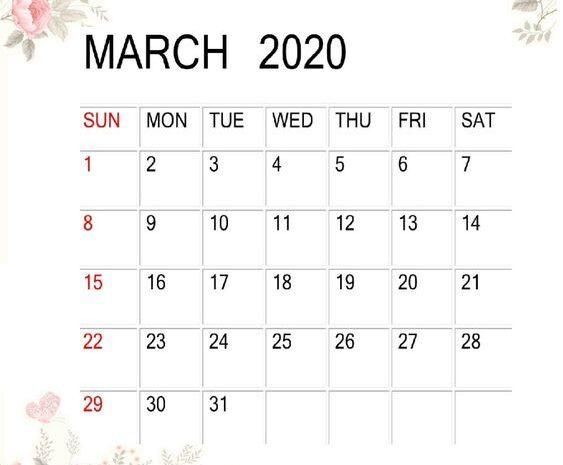 Cute March 2020 Calendar Desk Wallpaper