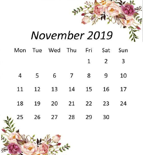Cute November 2019 Calendar Decorative