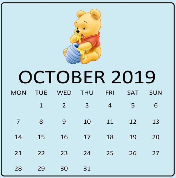 Cute October 2019 Calendar Doll