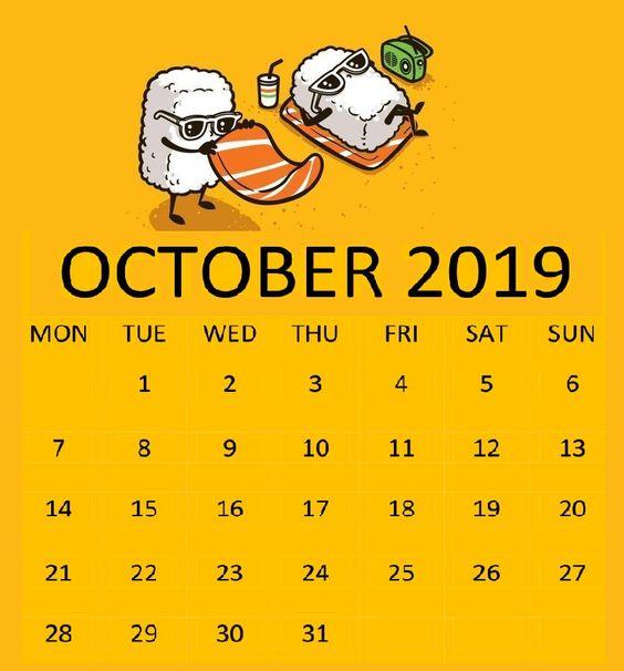 Cute October 2019 Calendar Flower