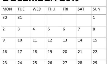 December 2019 Blank Calendar With Notes