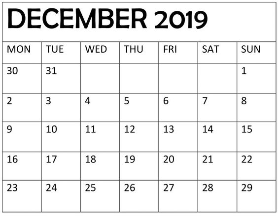 December 2019 Blank Calendar PDF Template