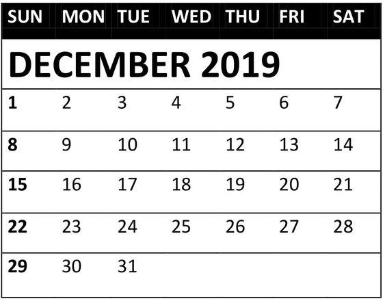 December 2019 Calendar PDF