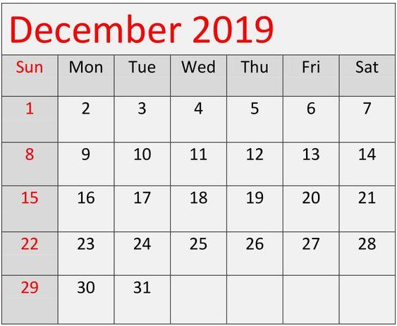 December 2019 Calendar Printable A4 Template