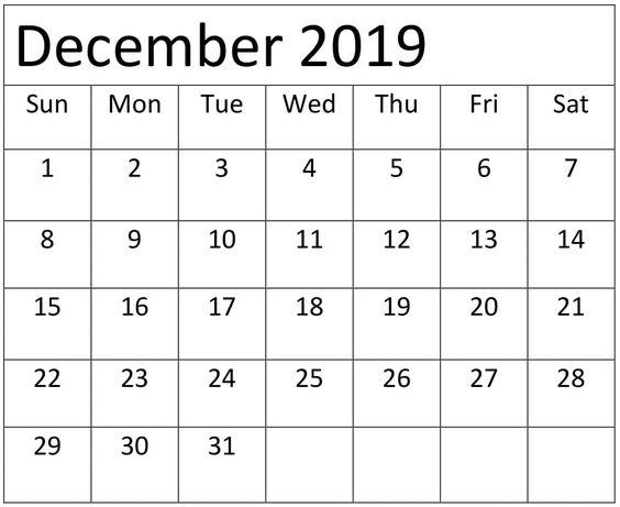 December 2019 Calendar Template Download