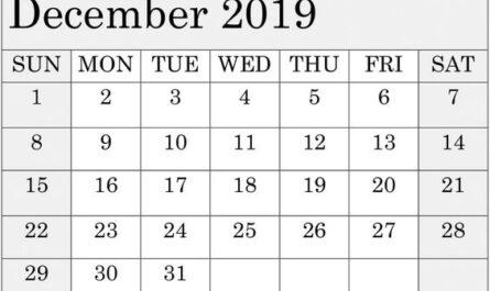 December 2019 Calendar Template Editable