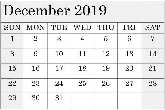 December 2019 Calendar Template Excel For Google Sheets
