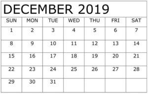 December 2019 Calendar Template Free