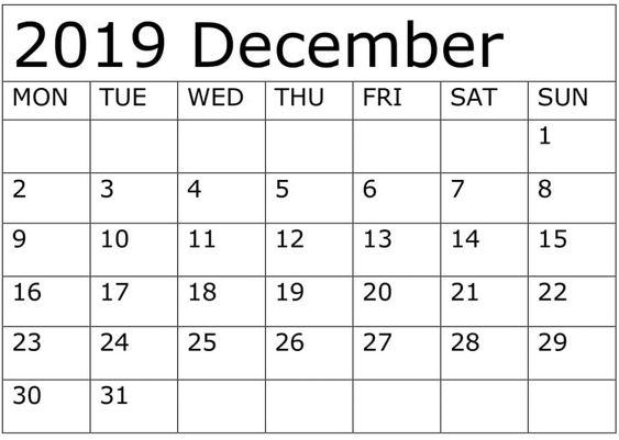 December 2019 Calendar With Holidays Australia