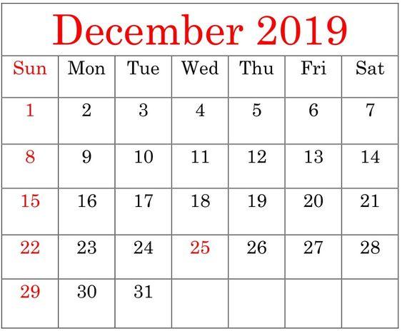 December 2019 Calendar Word