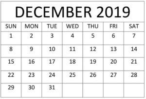 December Calendar 2019 Decorative