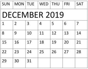 December Calendar 2019 Download