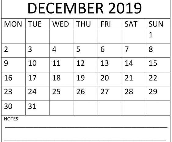 December Calendar 2019 PDF Printable