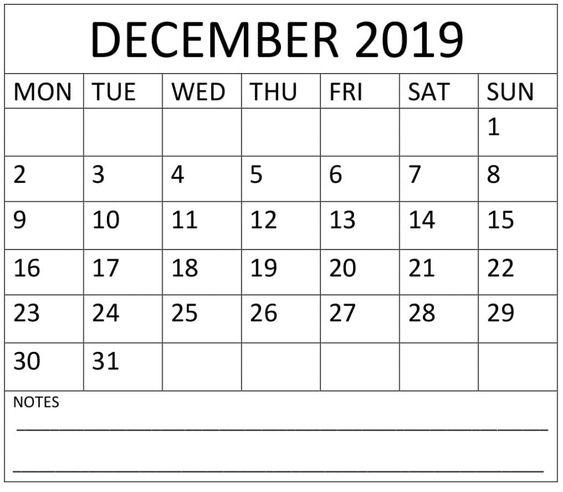 December Calendar 2019 Printable