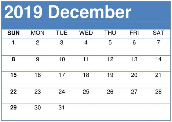 December Calendar 2019 Stylish Design
