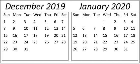 December January 2020 Calendar Editable Template