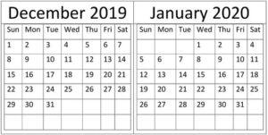 December January 2020 Calendar Printable Template