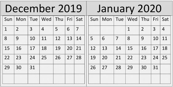 December January 2020 Calendar Template