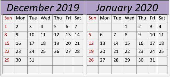 December January 2020 Calendar Two Month Template