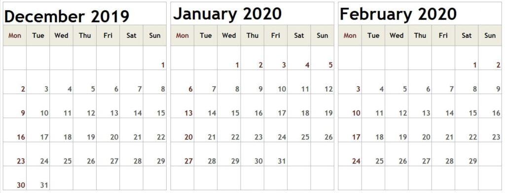 December January February 2020 Calendar Holiday Notes