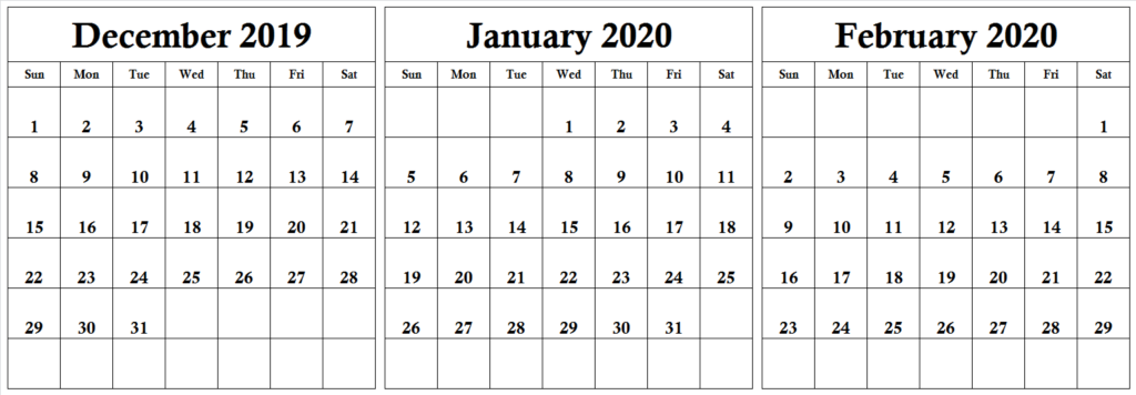 December January February 2020 Calendar Notes