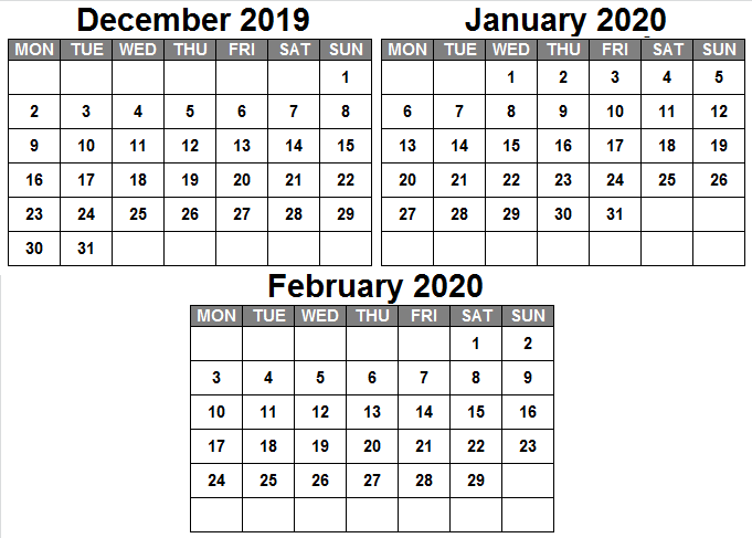December January February 2020 Calendar Print