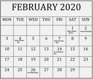February 2020 Blank Calendar Desk
