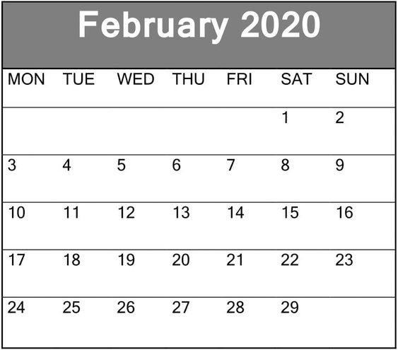 February 2020 Blank Calendar Editable