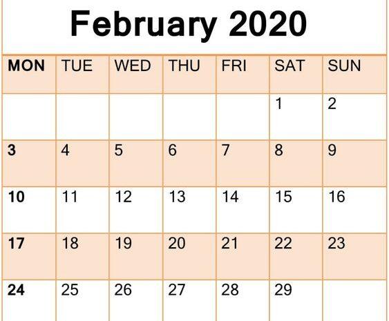 February 2020 Calendar Printable Free Print