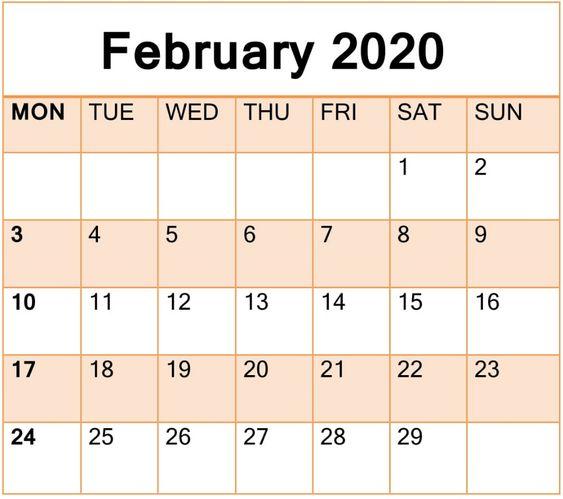 February 2020 Calendar Printable Desk