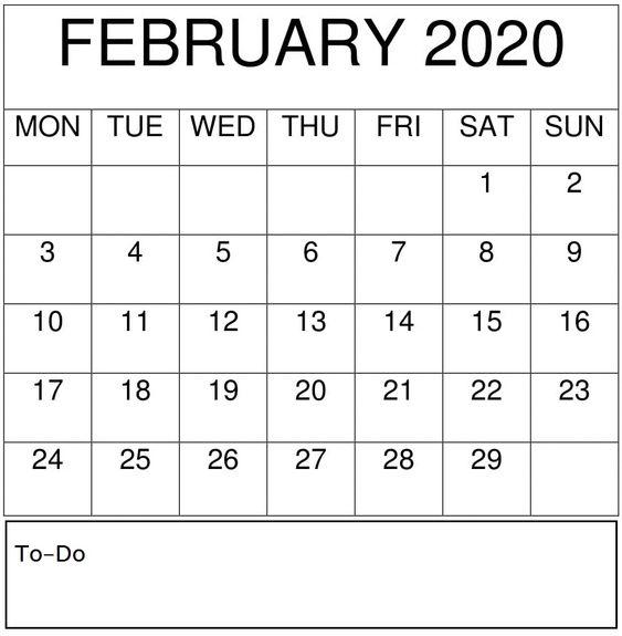 February Calendar 2020 Desk