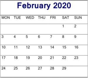 February Calendar 2020 Editable