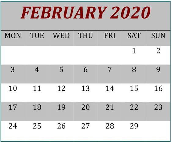February Calendar 2020 Excel, PDF Template