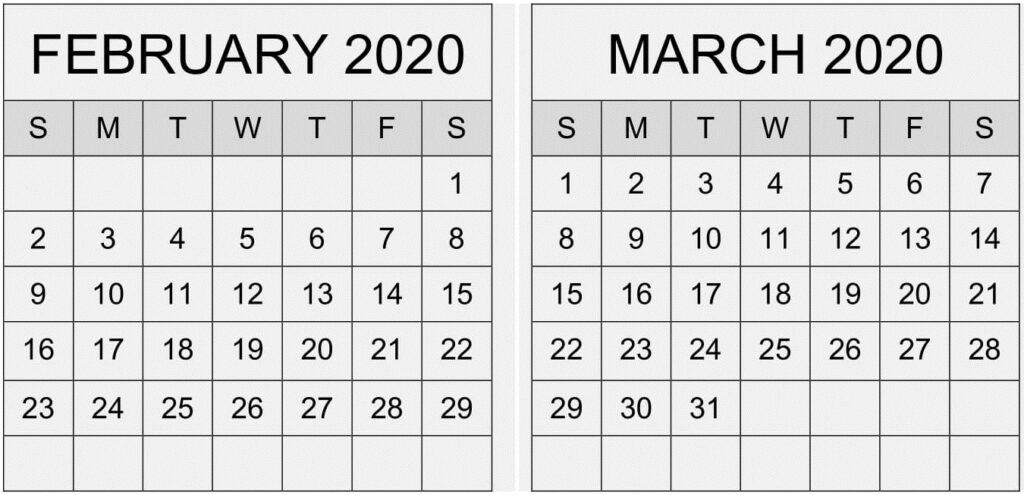 February March 2020 Calendar Floral