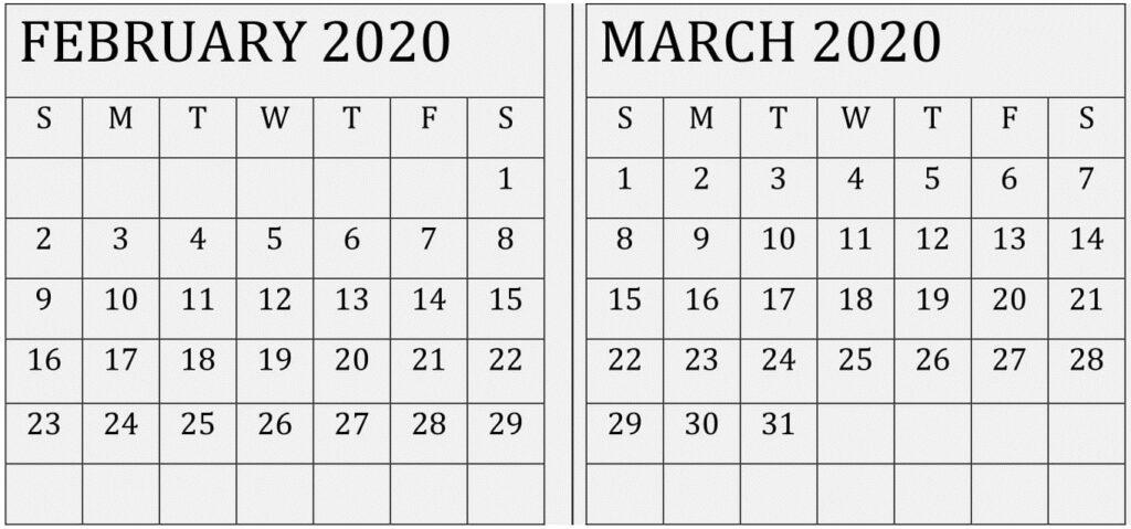 February March 2020 Calendar Printable