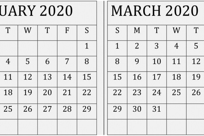February March 2020 Calendar PDF Template
