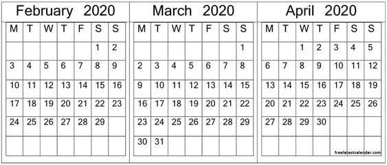 February March April 2020 Calendar Template